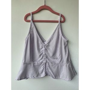 XS, Bella Dahl, lovely muted purple button up top